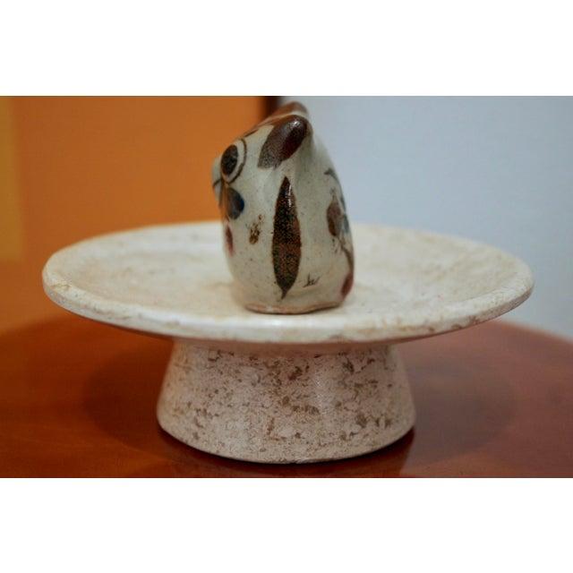 Jorge Wilmot Miniature Pottery Owl on Travertine Pedestal For Sale - Image 4 of 8