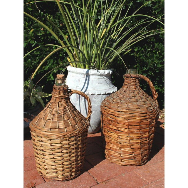 Early 20th Century Antique Wicker Covered & Handled Wine Jug With Cork For Sale - Image 5 of 6