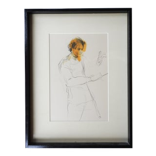 1970's Drawing of Maurice Peress Conducting For Sale