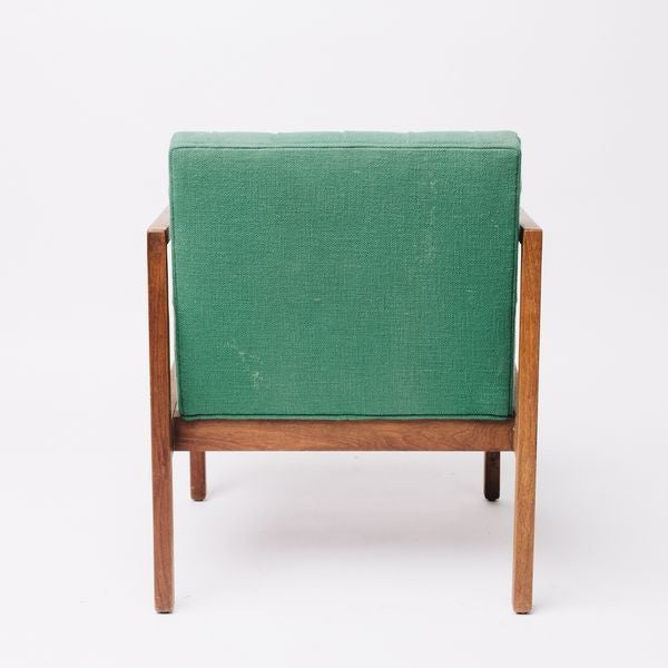 Vintage Green Wool Danish Arm Chairs Pair For Sale In Los Angeles - Image 6 of 8