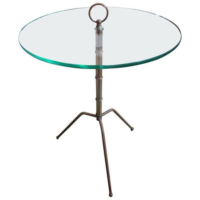 Italian Gio Ponti Inspired Brass and Glass Tripod Table For Sale - Image 9 of 9