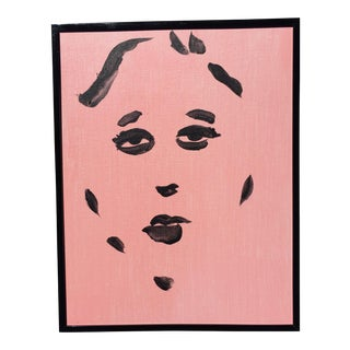 Black on Pink Portrait Painting For Sale