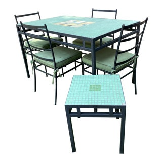 Mid-Century Modern Outdoor Dining Set - Set of 7 For Sale