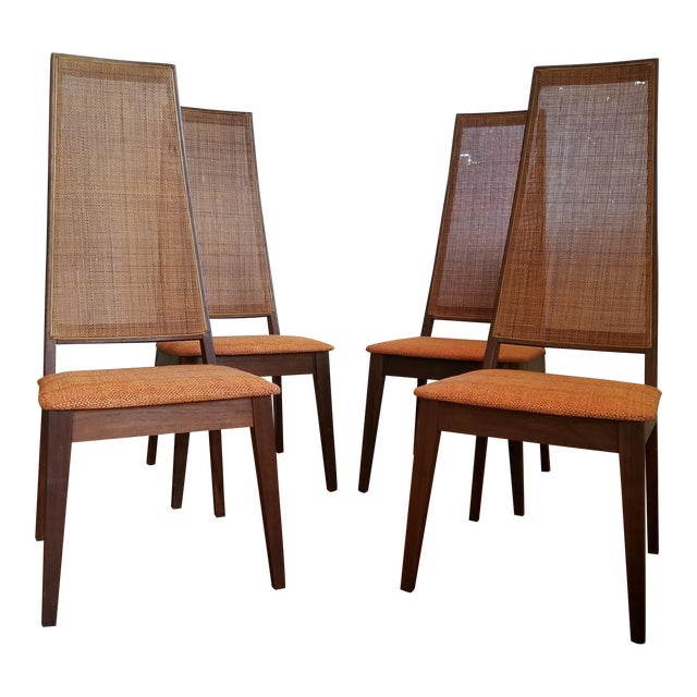 Tempo of California Mid-Century Cane Back Dining Chairs - Set of 4 For Sale