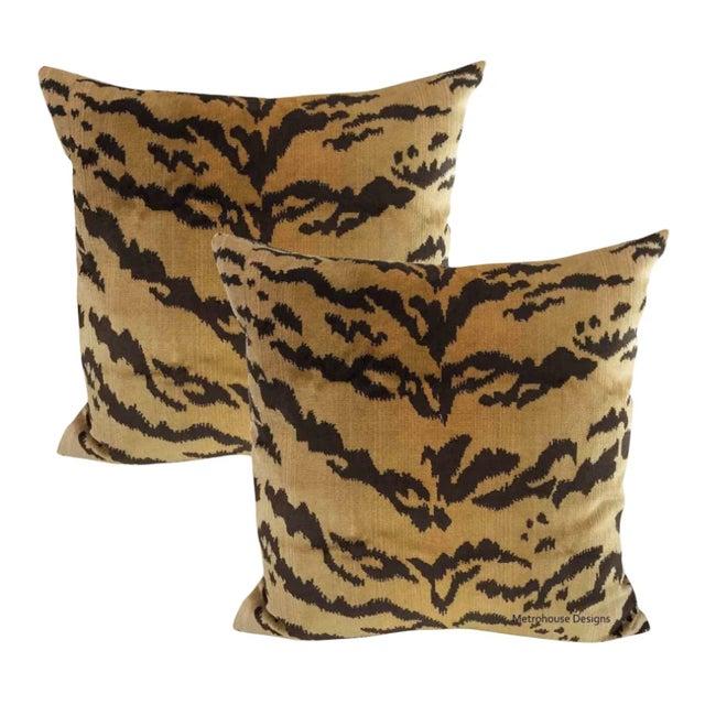 Art Nouveau Nobilis of Paris Velvet Tiger Down Feather Accent Pillows - Set of 2 For Sale - Image 3 of 3