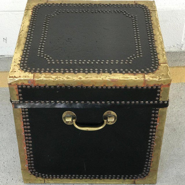 Regency Style Brass-Mounted Leather Cube Trunk For Sale - Image 9 of 10