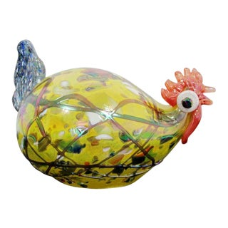 Contemporary Multi Colored Glass Rooster Table Sculpture Signed 7/40 For Sale