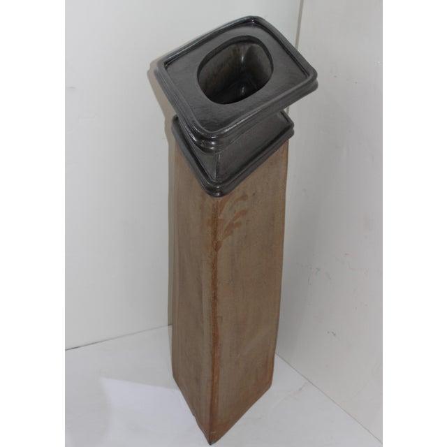 "Brutalist Vase Form Glazed Pottery 36"" High Sculpture Signed by the Artisan For Sale - Image 13 of 13"