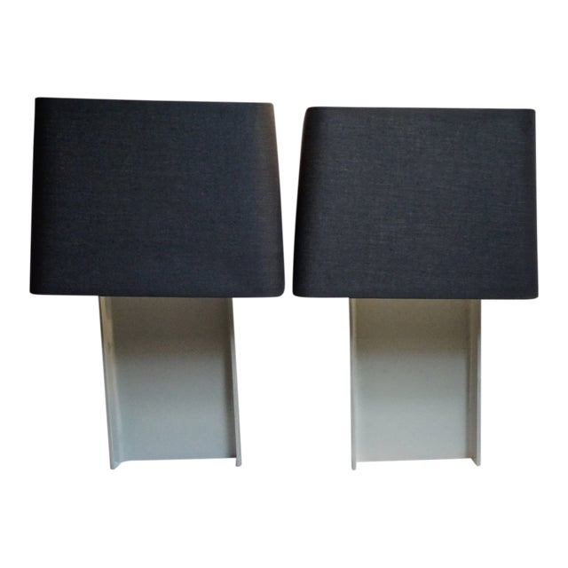 Industrial Painted I-Beam Table Lamps by Laurel Lamp Co.-Pair For Sale