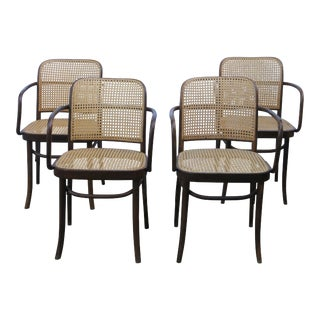 Josef Hoffmann Bentwood & Cane Prague Chairs - Set of 4