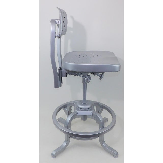 Good Form Mid-Century Modern Industrial Aluminum Drafting Swivel Stool Chair - Image 3 of 11