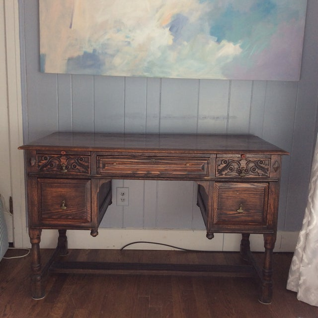 Late 19th Century Rustic Dark Oak Desk and Chair - 2 Pieces For Sale In Greenville, SC - Image 6 of 13