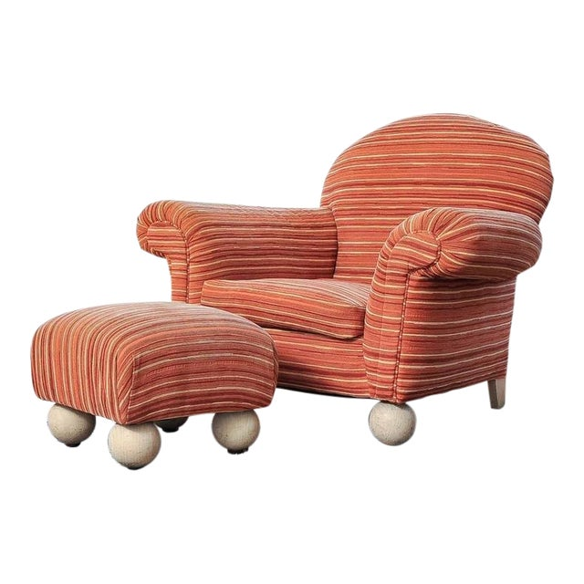 Contemporary Armchair with Ottoman - Image 1 of 7