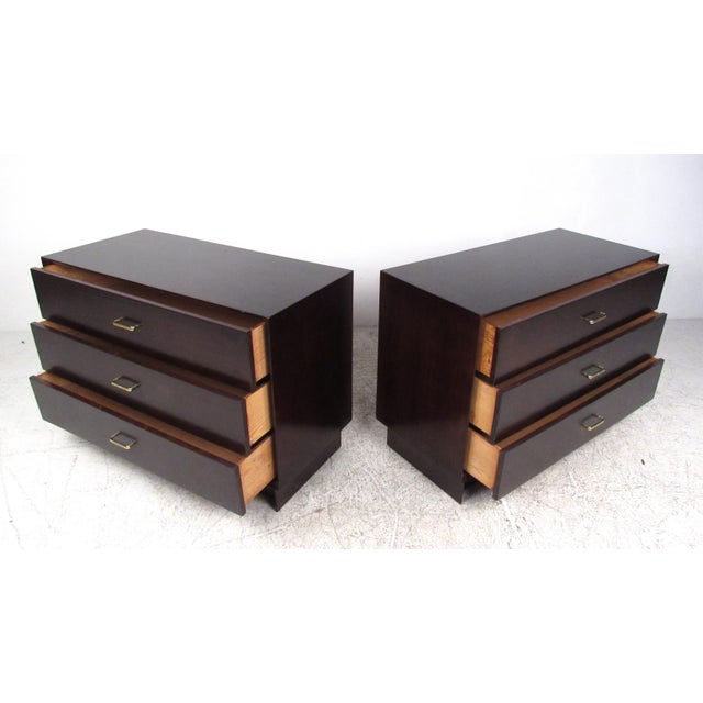 Pair of Mid-Century Modern Mahogany Bachelor's Chests For Sale - Image 9 of 9