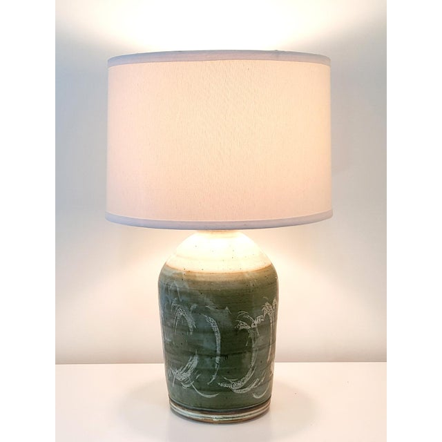 Vintage Green Studio Pottery Lamps - A Pair - Image 10 of 10
