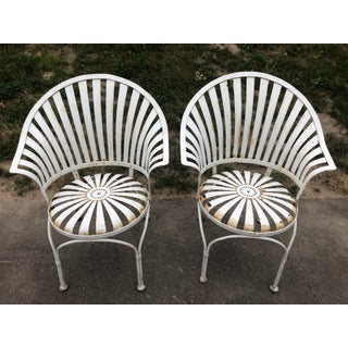 Art Deco Francois Carre Sunburst Fan Back Spring Patio Chairs - a Pair Preview