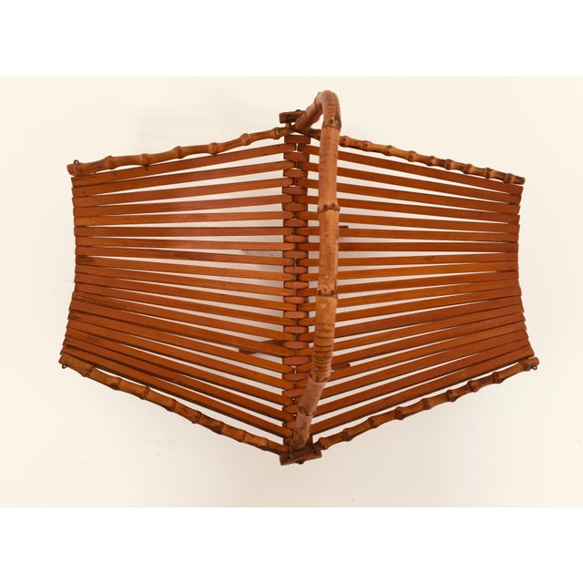 1970s Mid-Century Japanese Folding Bamboo Basket With Handle For Sale - Image 5 of 12