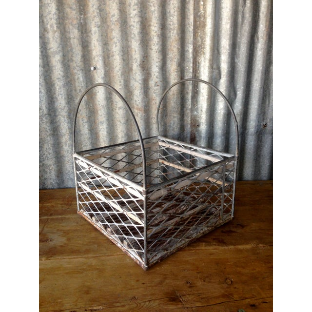 Vintage Metal Basket with Handles - Image 3 of 6