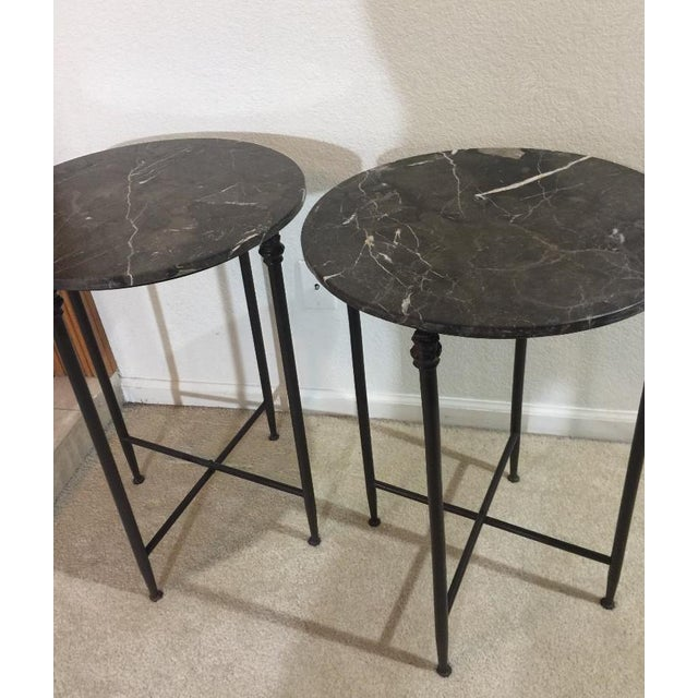 Mid Century Modern Black Metal and Black Marble Round Accent Tables - a Pair For Sale - Image 4 of 7