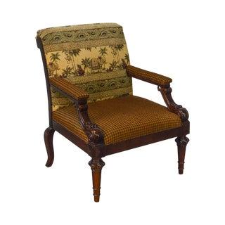 Century English Regency Style Wide Seat Arm Chair W/ Elephants & Monkey Fabric