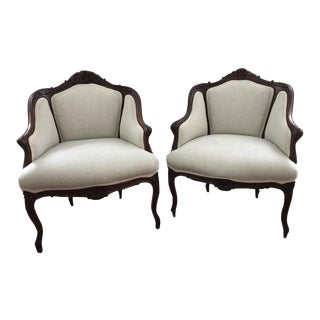 Early 20th Century Antique French Lounge Bergère Chairs - A Pair For Sale
