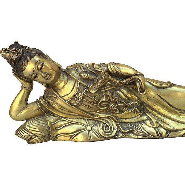 Quan Yin Brass Reclining Statue - Image 3 of 7
