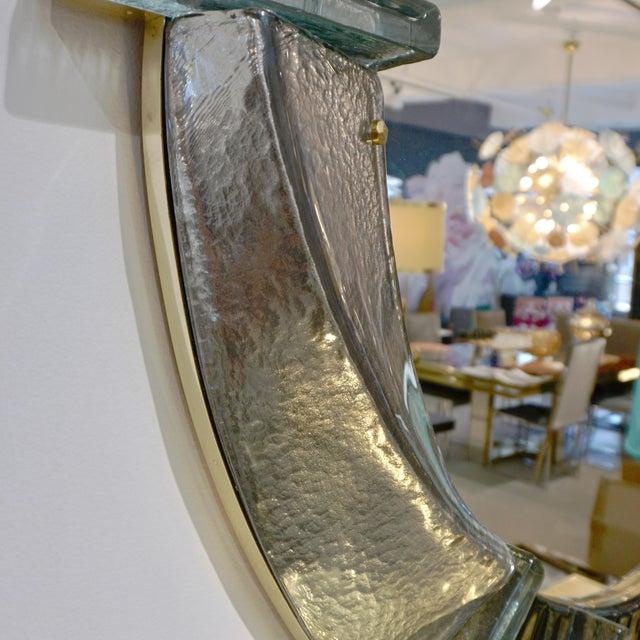 Italian Contemporary Bespoke Black Silver & Aqua Murano Glass Brass Round Mirror For Sale - Image 10 of 12