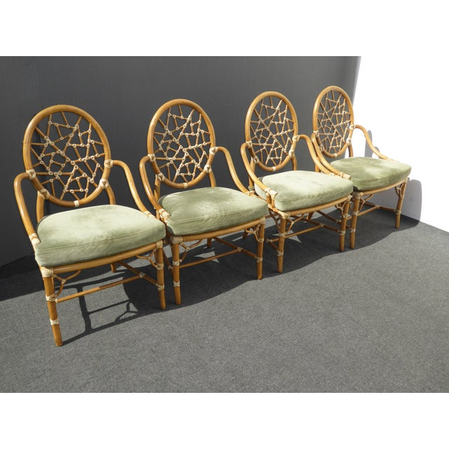 McGuire Cracked Ice Bamboo Rattan Green Suede Leather Arm Chairs - Set of 4 - Image 4 of 11