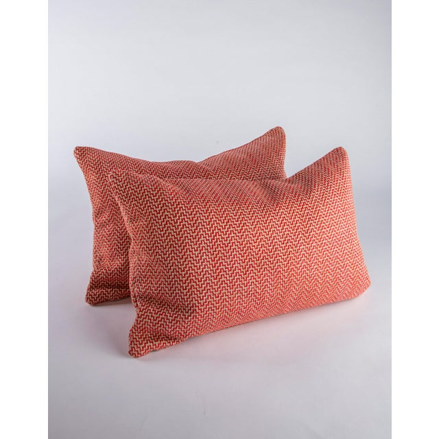 """Custom pair of 22"""" x 14"""" down pillows in Orwell by Schumacher. In colorway Lipstick this Italian made to the trade textile..."""