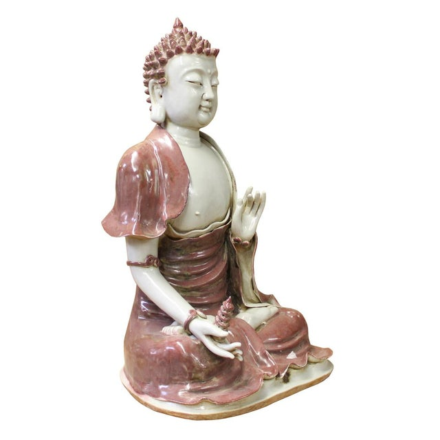 Vintage Chinese Red Glaze Porcelain Sitting Buddha with Tower Statue For Sale - Image 4 of 7