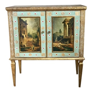 Mid-Century Florentia Baby Blue & Gilt Painted Cabinet For Sale