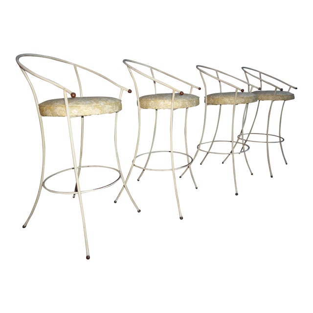 Vintage Mid-Century Modern White Wrought Iron Bar Stools- Set of 4 - Image 1 of 11
