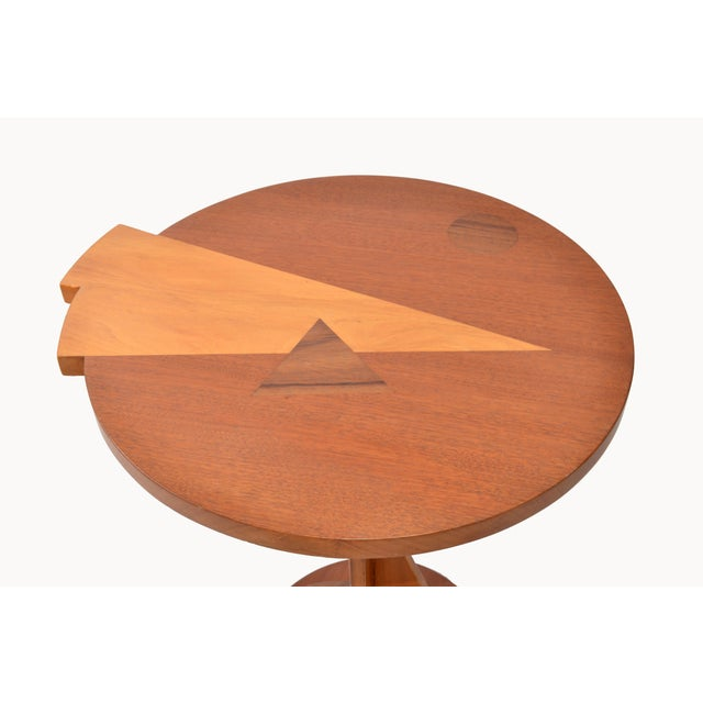 Mid-Century Modern Round Mahogany Wood Marquetry Side / Cocktail Table Italy For Sale In Miami - Image 6 of 13