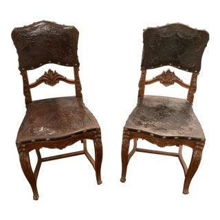 Pair of Leather Hall Chairs For Sale
