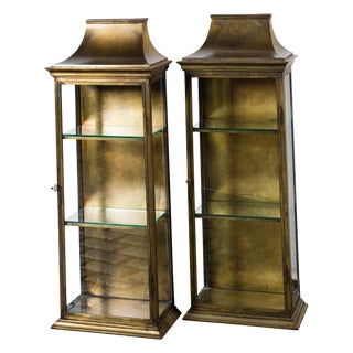 Pair of Pagoda Style Brass Vitrines For Sale