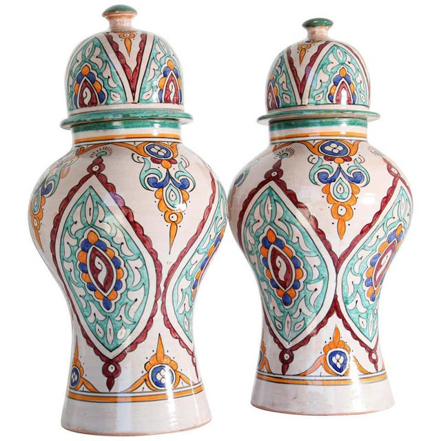Moorish Ceramic Glazed Covered Urns Handcrafted in Fez Morocco - A Pair For Sale - Image 11 of 11