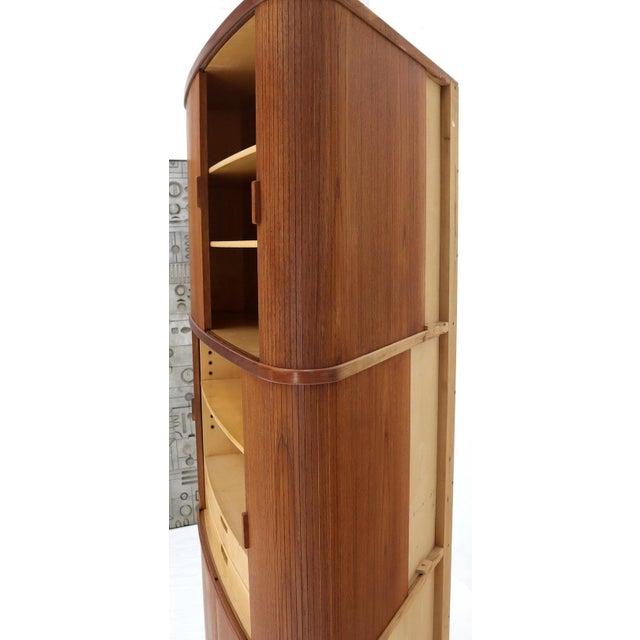 Brown Rare Large Tambour Door Danish Modern Teak Corner Cabinet For Sale - Image 8 of 13