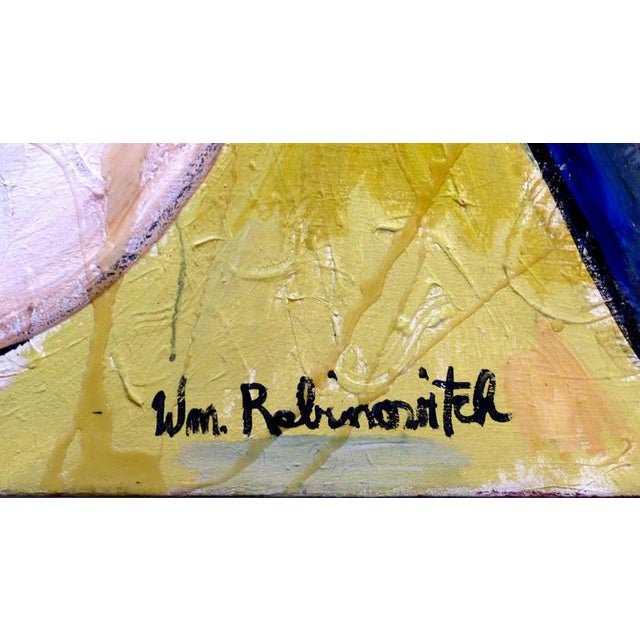 """Oil Paint 20th Century Abstract by William Rabinovitch Titled """"Mermaid and Dolphin"""" For Sale - Image 7 of 8"""