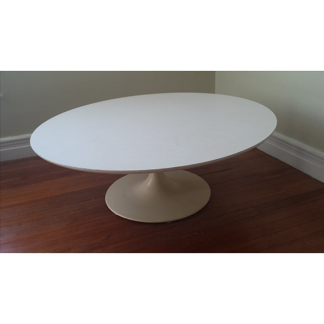 "Reproduction Saarinen ""Tulip"" White Coffee Table - Image 2 of 3"