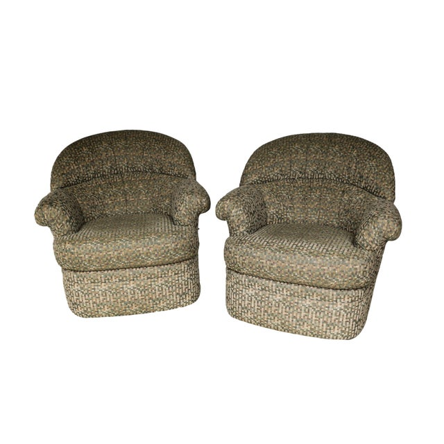 Pair Mid Century Modern Swivel Lounge Chairs - Image 1 of 9