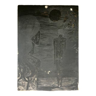 Late 20th Century Double Sided Nude Figures Woodcut Printing Block For Sale