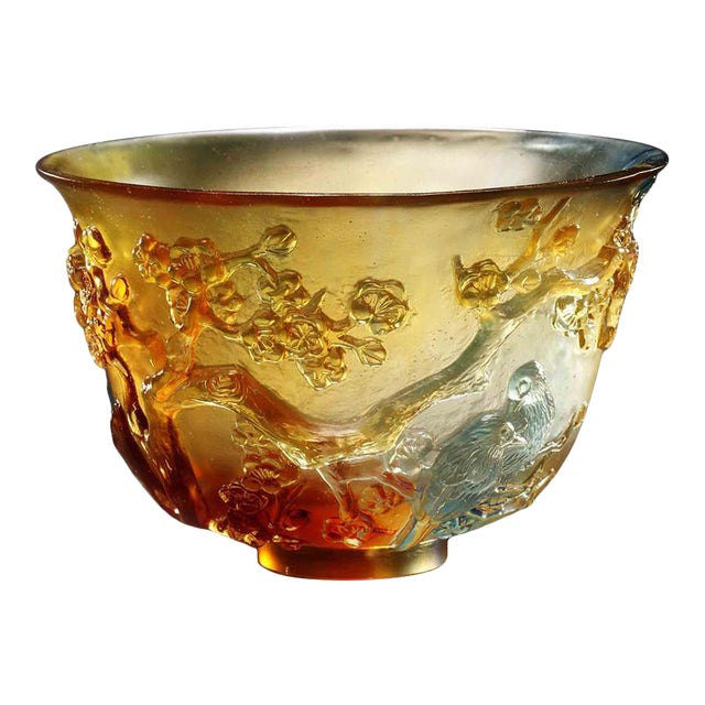 """Crystal Limited Edition Plum Blossom Bowl """"The Plum Gentleman"""" in Amber Sky Blue For Sale"""