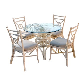1980s Chippendale McGuire Ash Blonde Rattan Dining Set - 5 Pieces For Sale