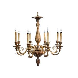 Handmade Italian Baroque Wood & Iron Chandelier