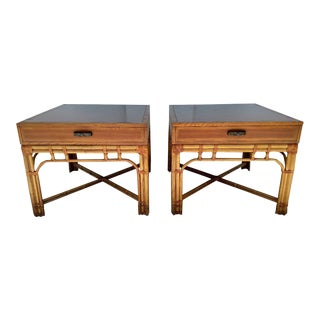 20th Century Boho Chic Alenter Cane Corp. Rattan Side Tables - a Pair