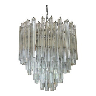 1960s Hollywood Regency Venini Triedi Murano Glass Chandelier For Sale
