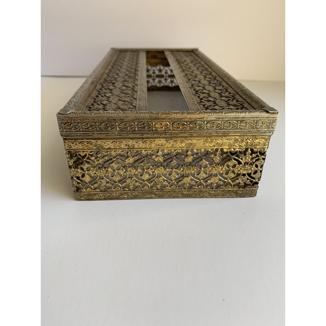 1960s ornate filigree brass tissue box with hinged opening and classic cutout design. Why show the cardboard box when you...