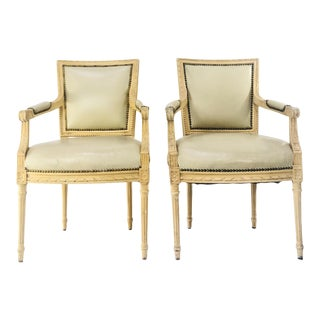 1990s Vintage Regency Style Leather Armchairs- A Pair For Sale