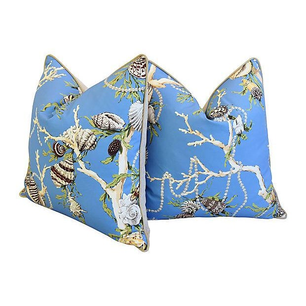 """Designer Nautical Blue Coral & Shells Feather/Down Pillows 26"""" Square - Pair For Sale In Los Angeles - Image 6 of 12"""