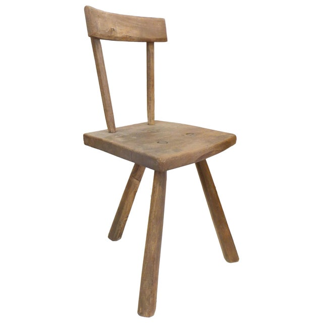 French Pair of French 3-Legged Chairs Attributed to Jean Touret For Sale - Image 3 of 6